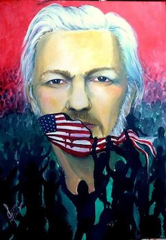 Daniela Tomé paints Julian Assange